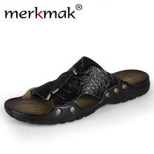 Merkmak Summer Beach Men's Sandals Slippers Crocodile Leather Fashion Casual Men's Flip Flops Cross-tied Breathable Loafer Shoes