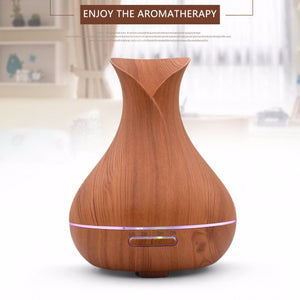 OUTAD 400ml Aroma Essential Oil Diffuser Ultrasonic Air Humidifier With Wood Grain 7 Colors Changing LED Lights For Office Home