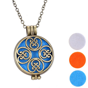 necklace pads charms Essential Oil Diffuser Pendants For Perfume Round Hollow Flower Vintage Aromatherapy frame Lockets