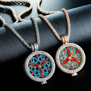 Fashion Jewelry New Essential Oil Diffuser rhinestone Pendant Necklace Set for women gift with Copper Alloy Chain +Refill Pads