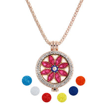 2017 New Crystal Fashion Jewelry Essential Oil Diffuser rhinestone  Pendant Necklace Set with Copper Alloy Chain +Refill Pads