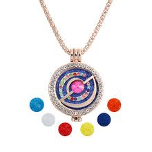 New Crystal Essential Oil Diffuser rhinestone round Note Pendant Necklace Set for women gift with Copper Alloy Chain+Refill Pads