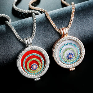 Fashion Jewelry Essential Oil Diffuser rhinestone round Pendant Necklace Set for women gift with Copper Alloy Chain +Refill Pads