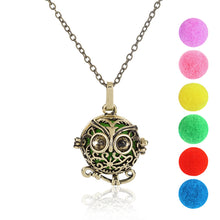 Hollow Owl Locket Pendant Aromatherapy Essential Oil Diffuser Necklace Jewelry