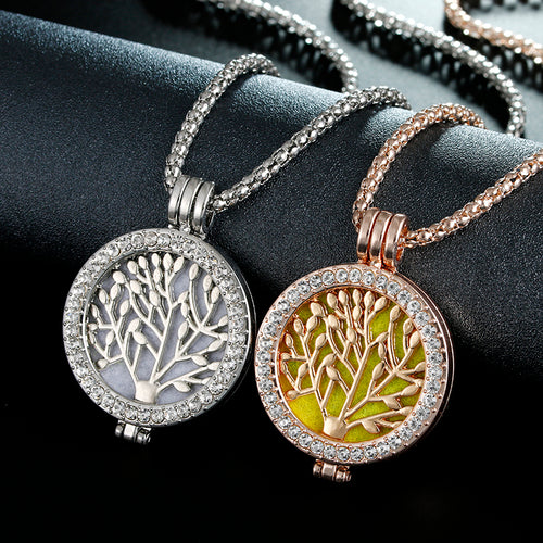 New Arriva Statement Jewelry Essential Oil Tree of Life Pendant Necklace Set for women party with Copper Alloy Chain+Refill Pad