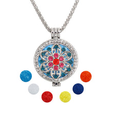 Statement Jewelry power Essential Oil Flower rose Crystal Pendant Fashion Long Chain Necklace Set for Women party +Refill Pad