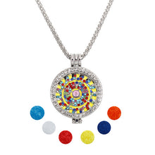 Fsshion Statement Jewelry Essential Oil Rhinestone Round Pendant Fashion Long Chain Necklace Set for Women party gift+Refill Pad