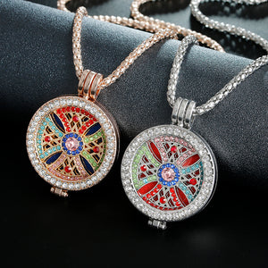 New Arriva Statement Jewelry Essential Oil rhinestone Pendant Necklace Set for women party with Copper Alloy Chain+Refill Pad