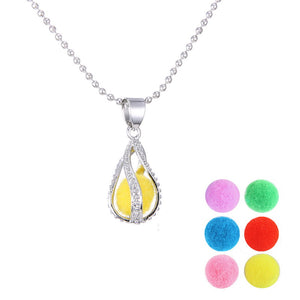 Fragrance Essential Oil Aromatherapy Diffuser felt pad Valentine's day gifts Water Drop Locket Necklace pendant women Perfume