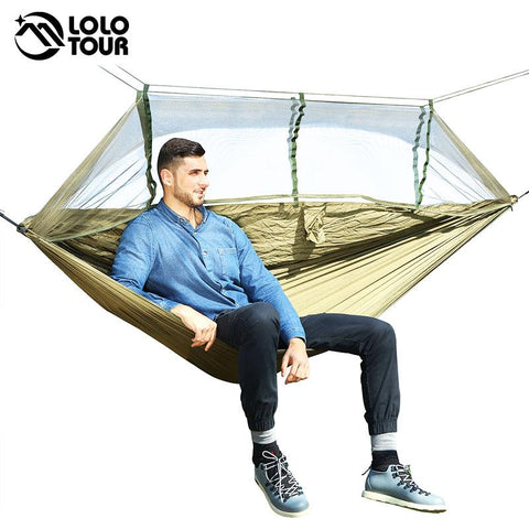 Image of 1-2 Person Outdoor Mosquito Net Parachute Hammock Camping Hanging Sleeping Bed Swing Portable  Double  Chair Hamac Army Green