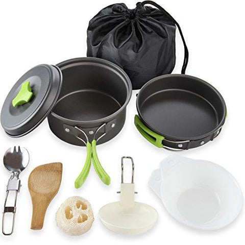Image of 1 Liter Camping Cookware Mess Kit Backpacking Gear & Hiking Outdoors Bug Out Bag Cooking Equipment 10 Piece Cookset | Lightweight, Compact, & Durable Pot Pan Bowls - Free Folding Spork, Nylon Bag