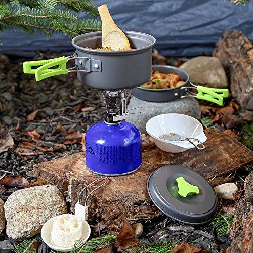 1 Liter Camping Cookware Mess Kit Backpacking Gear & Hiking Outdoors Bug Out Bag Cooking Equipment 10 Piece Cookset | Lightweight, Compact, & Durable Pot Pan Bowls - Free Folding Spork, Nylon Bag