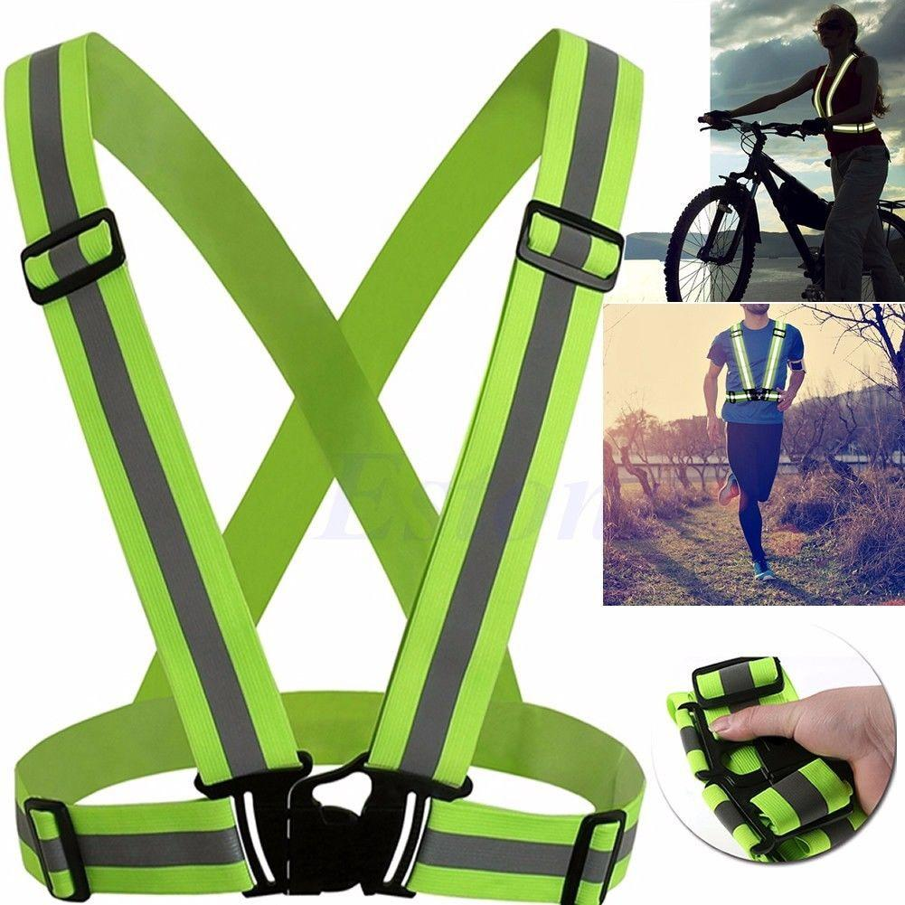 1 Pcs Unisex Outdoor Cycling Safety Vest Bike Ribbon Bicycle Light Reflecing Elastic Harness For Night Riding Running Jogging
