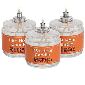 115 Hour Plus Emergency Candles, Clear Mist - SET OF 3 Long-Burning Survival Candles
