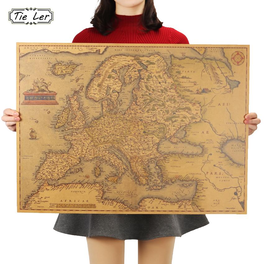 1570 Years Old European Map Poster Classic Vintage Retro Paper Craft For Home Decoration Living Room Bar Pub 69X51cm