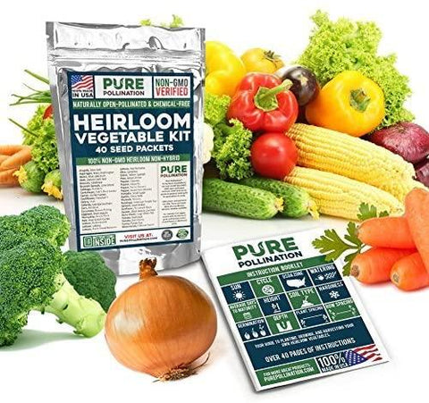 Image of 16,500 Non GMO Heirloom Vegetable Seeds Survival Garden 40 Variety Pack