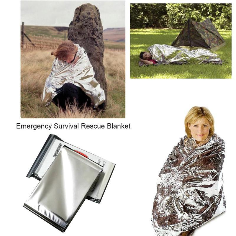 160*210cm Emergency Blanket Survival Rescue  Foil Thermal Space First Aid Sliver Rescue Curtain Military Blanket