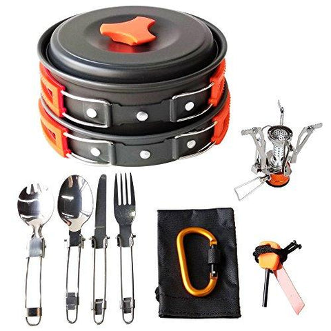 Image of 17Pcs Camping Cookware Mess Kit Backpacking Gear & Hiking Outdoors Bug Out Bag Cooking Equipment Cookset | Lightweight, Compact, & Durable Pot Pan Bowls (Orange)