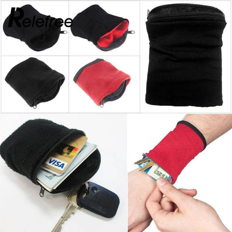 Image of 1PC Wrist Wallet Pouch Band Fleece Zipper Gym Cycling Sport Wallet Hiking Travel  Accessiories For Running