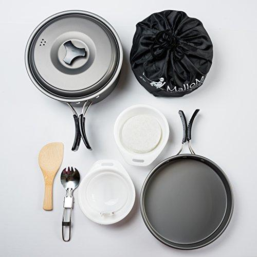 2 Liter Camping Cookware Mess Kit Backpacking Gear & Hiking Outdoors Bug Out Bag Cooking Equipment 10 Piece Cookset | Lightweight, Compact, & Durable Pot Pan Bowls - Free Folding Spork, Nylon Bag