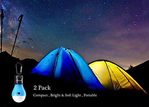 2 Pack/4 Pack E-TRENDS Portable LED Lantern Tent Light Bulb For Camping Hiking Fishing Emergency Lights, Battery Powered Lamp With 6 AAA Batteries