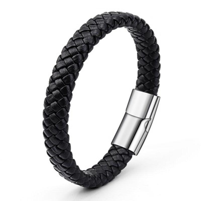 21cm Braided Pu Leather Bracelets For Bangle & Bracelet Fashion Men Jewelry