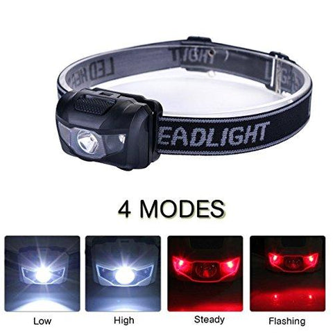 Image of 3-Pack Waterproof LED Headlamp (White And Red Lights), 4 Light Modes Lightweight Headlight For Running, Hiking, Hunting, Fishing, Camping