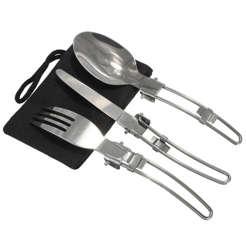 3 Pcs /set Portable Outdoor Camping Travel Picnic Foldable Stainless Steel Cutlery Set Spoon Fork Knife Tableware