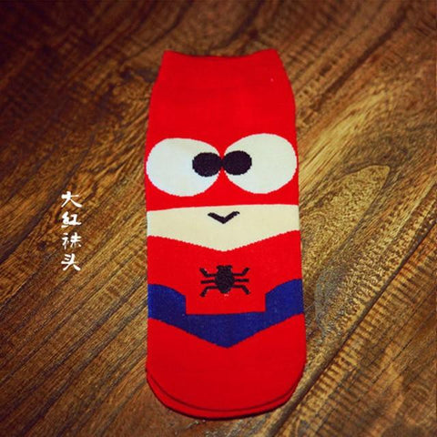 Image of 36-43 Summer Men Harajuku Socks Hip Hop Ninja Batman Superman SpiderMan Captain America Avengers Short Novelty Sokken D001
