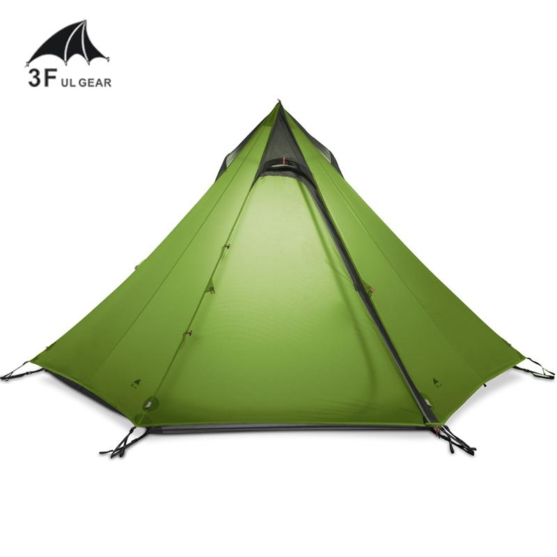 3F UL GEAR Ultralight Outdoor Camping Teepee 15D Silnylon Pyramid Tent 2-3 Person Large Tent Waterproof Hiking Tents