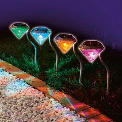 4pcs/lot Waterproof Outdoor Solar Power Lawn Lamps LED Spot Light Garden Path Stainless Steel Solar Landscape Garden Luminaria