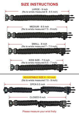 A2S Protection Paracord Bracelet K2-Peak – Camping Gear Survival Kit with Embedded Compass, Fire Starter, Emergency Knife & Whistle (Black / Black 8.5