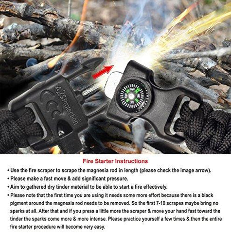 "A2S Protection Paracord Bracelet K2-Peak – Camping Gear Survival Kit With Embedded Compass, Fire Starter, Emergency Knife & Whistle (Black / Black 8.5"")"