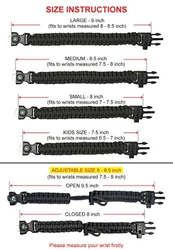 A2S Protection Paracord Bracelet K2-Peak – Survival Gear Kit With Embedded Compass, Fire Starter, Emergency Knife & Whistle (Black / Orange Adjustable Size)