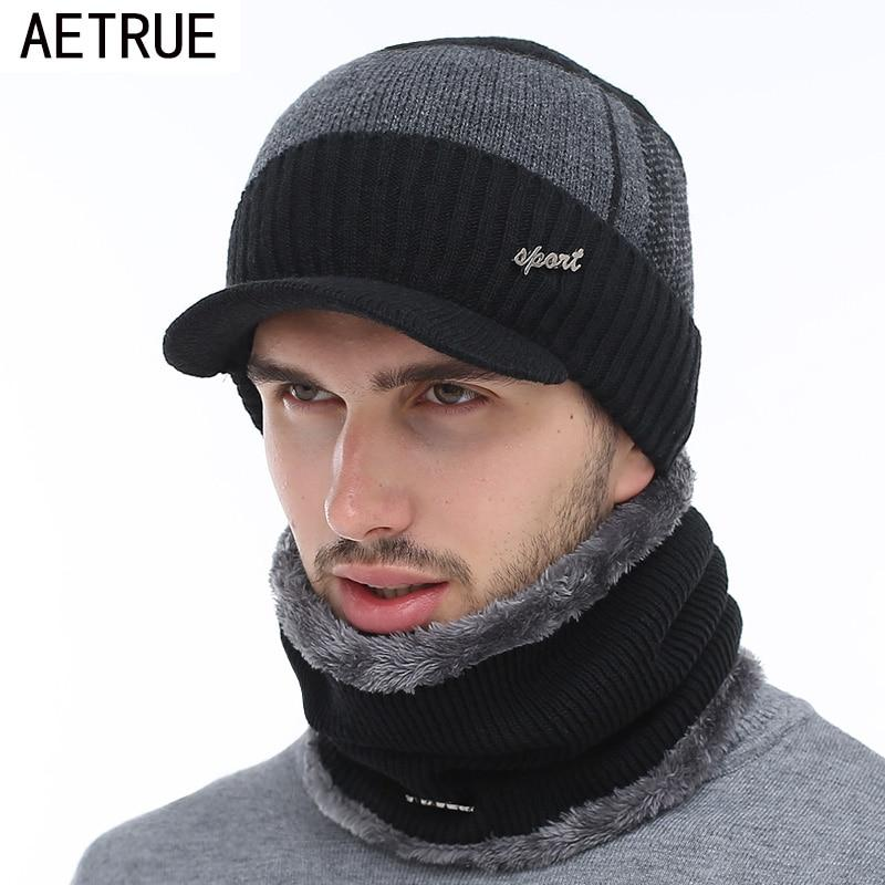 AETRUE Winter Hats Skullies Beanies Hat Winter Beanies For Men Women Wool Scarf Caps Balaclava Mask Gorras Bonnet Knitted Hat