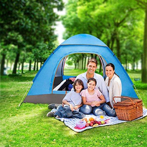 Image of Amagoing 3-4 Person Family Camping Tent Portable Pop Up Tent Shelter With Carry Bag For Backpacking,Great For Picnic,Hiking,Fishing,Outdoor Use