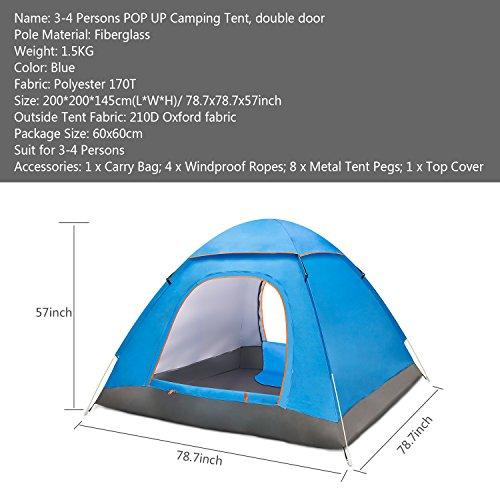 Amagoing 3-4 Person Family Camping Tent Portable Pop Up Tent Shelter With Carry Bag For Backpacking,Great For Picnic,Hiking,Fishing,Outdoor Use