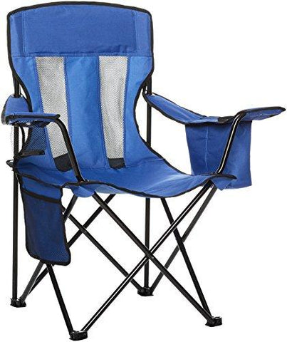 Image of AmazonBasics Camping Chair With Cooler, Blue (Mesh)