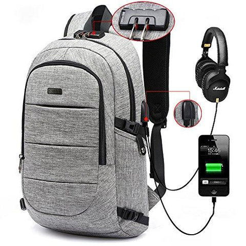 Image of AMBOR Business Waterproof Resistant Polyester Laptop Backpack With USB Charging Port And Lock &Headphone Interface For College Student Work Men & Women,Fits Under 15.6-Inch Laptop Notebook
