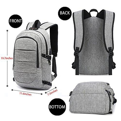 AMBOR Business Waterproof Resistant Polyester Laptop Backpack With USB Charging Port And Lock &Headphone Interface For College Student Work Men & Women,Fits Under 15.6-Inch Laptop Notebook