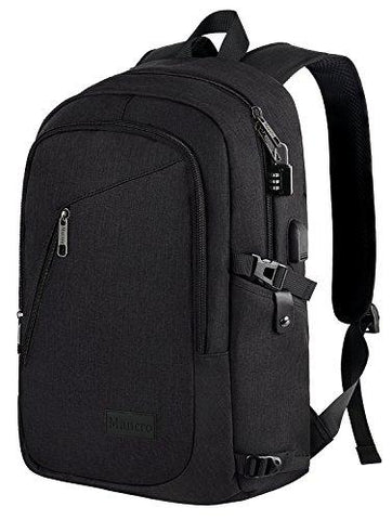 Anti-theft Mens USB w// Charger Port Backpack Laptop Notebook Travel School Bag Y