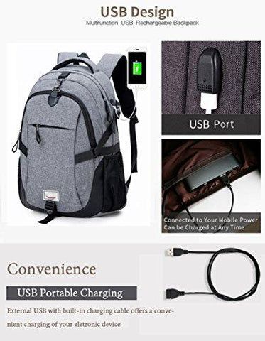 Image of Anti-theft Laptop Backpack, Loaged Business Bags With USB Charging Port Water Resistant School Bookbag For College Travel Backpack For 15.6-Inch Laptop And Notebook