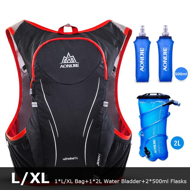 AONIJIE E906S 5L Upgraded Outdoor Backpacks Marathon Reflective Hiking Cycling Backpack Hydration Vest Pack 2 Colors