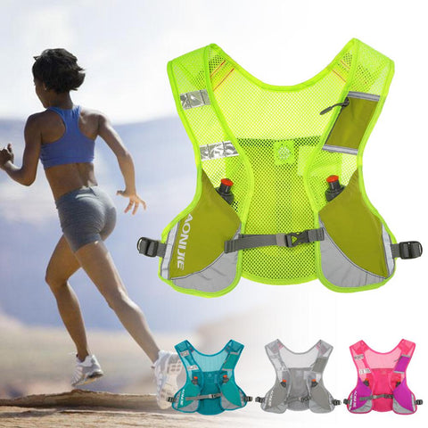 AONIJIE Marathon Backpack Running Hydration Vest Pack Outdoor Cycling Bicycle Bike Bag Packsack With 2 PC 170ML Bottles