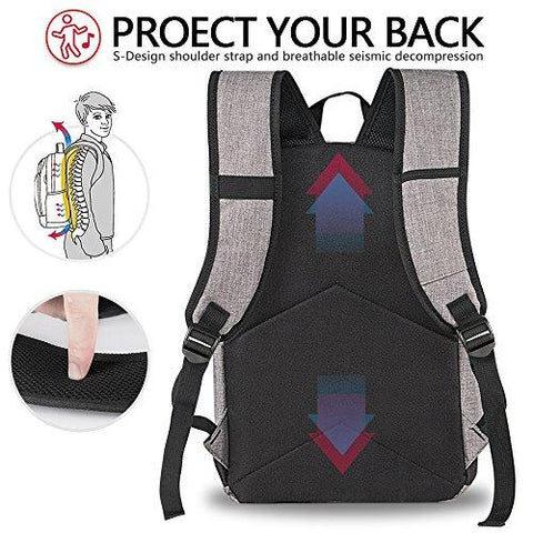 Image of Backpack, Water Resistant School Backpack With USB Charging Port For Women Men, Canvas College Student Rucksack Fits 15.6 Inch Laptop And Notebook, Daypack For Travel Outdoor Camping