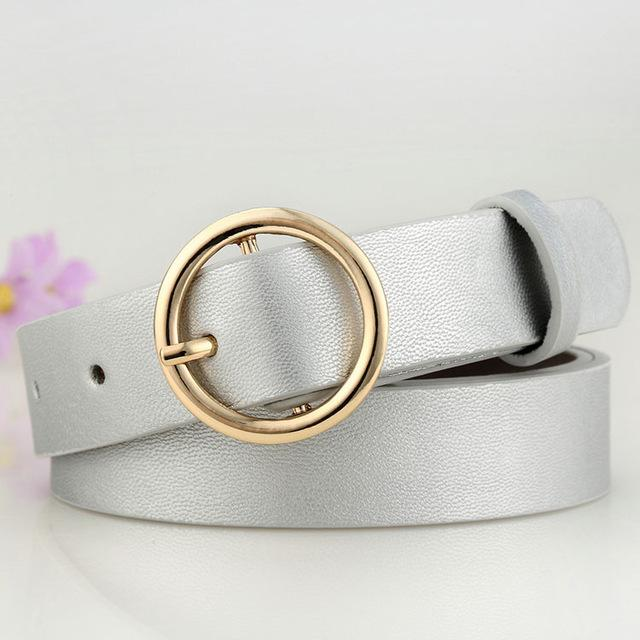 Badinka New Gold Round Metal Circle Belt Female Gold Silver Black White PU Leather Waist Belts For Women Jeans Pants
