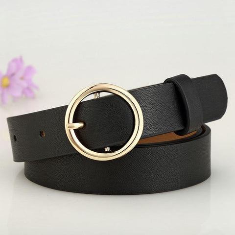 Image of Badinka New Gold Round Metal Circle Belt Female Gold Silver Black White PU Leather Waist Belts For Women Jeans Pants