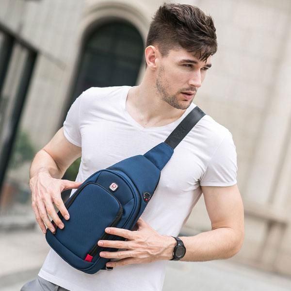 BALANG Crossbody Bags For Men Messenger Chest Bag Pack Casual Bag Waterproof Nylon Single Shoulder Strap Pack