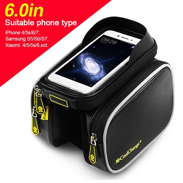 Bicycle Frame Front Head Top Tube Waterproof Bike Bag & Double Pouch Cycling For  Iphone 6.0 Cell Phone Bike Accessories