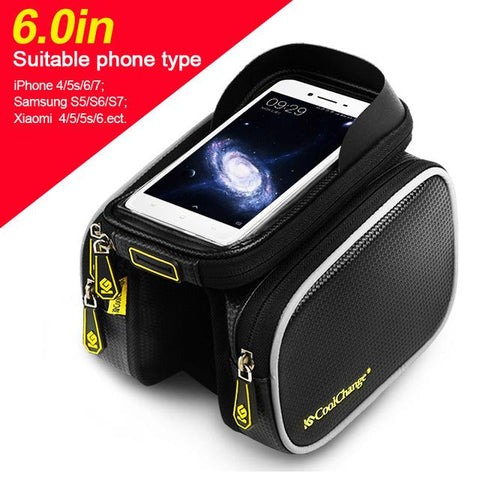 Image of Bicycle Frame Front Head Top Tube Waterproof Bike Bag & Double Pouch Cycling For  Iphone 6.0 Cell Phone Bike Accessories